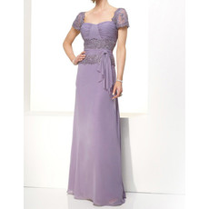 Elegant A-Line Short Sleeves Floor Length Chiffon Mother Dress