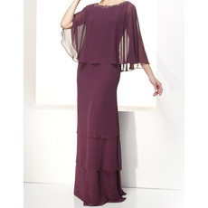 Designer Sheath Round Floor Length Chiffon Mother Dress for Wedding