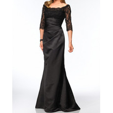 Designer Mermaid Sleeves Floor Length Satin Mother Dress for Wedding