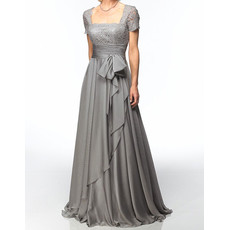 Designer A-Line Square Floor Length Chiffon Mother of the Bride/ Groom Dress