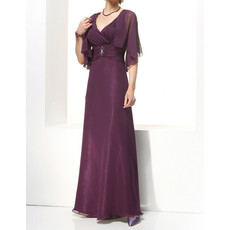 Designer A-Line V-Neck Floor Length Chiffon Mother of the Bride/ Groom Dress