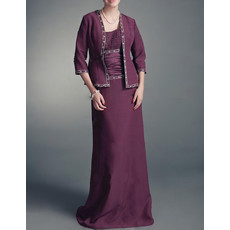 A-Line Straps Floor Length Chiffon Mother Dress with Jackets