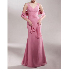 Mermaid V-Neck Floor Length Chiffon Mother of the Bride/ Groom Dress