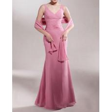 Mermaid V-Neck Floor Length Chiffon Mother of the Bride/ Groom Dress