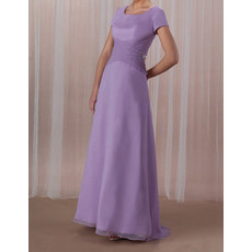 Modest Short Sleeves Floor Length Chiffon Mother of the Bride/ Groom Dress
