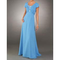 Modest A-Line Floor Length Chiffon Mother of the Bride/ Groom Dress