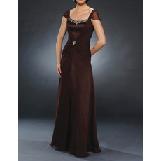 Modest Cap Sleeves Floor Length Chiffon Mother of the Bride/ Groom Dress