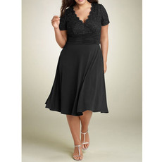 A-Line V-Neck Short Black Chiffon Mother of the Bride/ Groom Dress