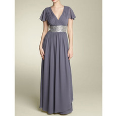 Modest A-Line V-Neck Floor Length Chiffon Mother of the Bride/ Groom Dress