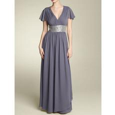 Modest A-Line V-Neck Floor Length Chiffon Mother of the Bride/ Groom Dress