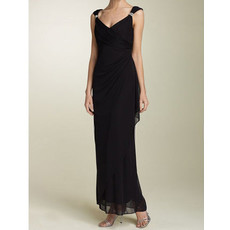 Sheath V-Neck Ankle Length Black Chiffon Mother of the Bride/ Groom Dress
