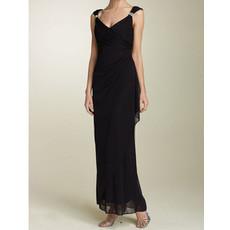 Sheath V-Neck Ankle Length Black Chiffon Mother of the Bride/ Groom Dress