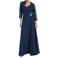 Modest Long Chiffon Mother of the Bride/ Groom Dress with Jackets