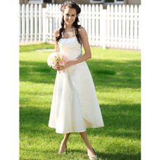 Elegant A-Line Halter Tea Length Satin Beach Wedding Dress