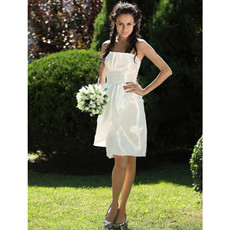 Informal Simple Strapless Taffeta Knee Length Ruffled Summer Wedding Dress