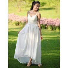 Casual Empire Spaghetti Straps Asymmetric Chiffon Dress for Spring Wedding