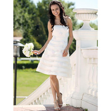 Custom A-Line Strapless Knee Length Summer Beach Wedding Dress