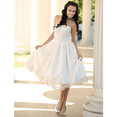Discount Custom A-Line Strapless Satin Short Reception Wedding Dress