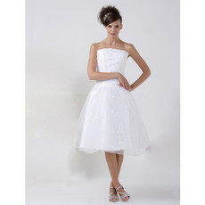 Casual A-Line Strapless Organza Short Reception Wedding Dress