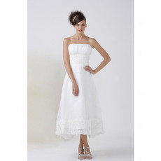 Classic Simple A-Line Strapless Tea Length Satin Wedding Dress