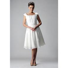 Vintage A-Line Square Chiffon Short Reception Wedding Dress