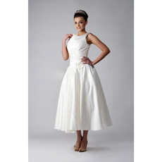 Classic Vintage A-Line Tea Length Satin Wedding Dress