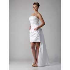 Custom Column/ Sheath Strapless Short/ Mini Wedding Dress