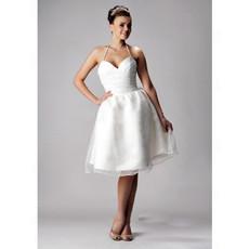 Sexy A-Line Halter Knee Length Beach Wedding Dress
