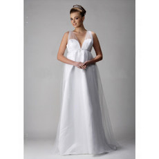 Classic Simple Empire V-Neck Floor Length Satin Organza Maternity Wedding Dress