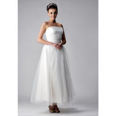 Custom A-Line Strapless Tea Length Satin Organza Wedding Dress
