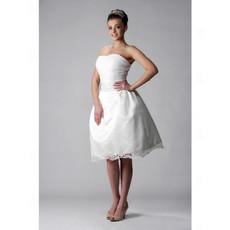 Discount A-Line Strapless Short Wedding Dress for Reception