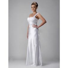 Custom Vintage Sheath/ Column One Shoulder Floor Length Wedding Dress