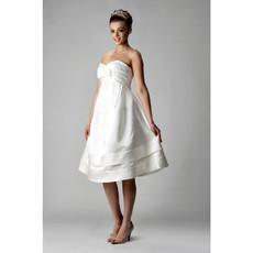 Inexpensive A-Line Sweetheart Satin Short Reception Wedding Dress