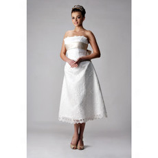 Classic Designer A-Line Strapless Tea Length Lace Wedding Dress