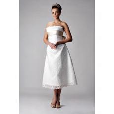 Classic Simple A-Line Strapless Tea Length Lace Wedding Dress