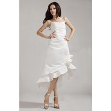 Designer Chic A-Line Spaghetti Straps Asymmetric Beach Wedding Dress