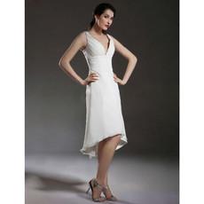 Sexy A-Line V-Neck Chiffon Short Beach Wedding Dress