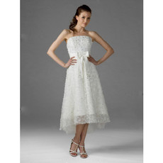 A-Line Strapless Lace Short Informal Wedding Dress for Petite Brides