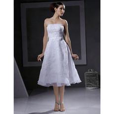 A-Line Strapless Satin Short Informal Wedding Dress for Reception