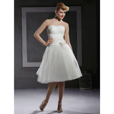 Affordable A-Line Sweetheart Short Informal Wedding Dress for Reception