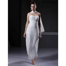Sheath/ Column Sweetheart Ankle Length Satin Informal Wedding Dress