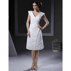 Inexpensive A-Line V-Neck Knee Length Satin Reception Wedding Dress