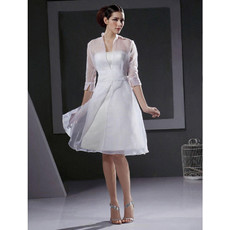 Cheap Designer A-Line Strapless Satin Short Reception Wedding Dress