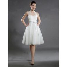 Charming A-Line Halter Satin Organza Short Informal Wedding Dress