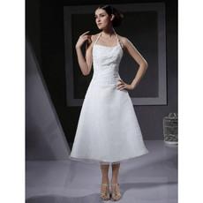 Designer Classic A-Line Halter Tea Length Satin Reception Wedding Dress