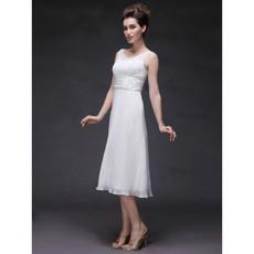 Affordable Modern A-Line Scoop/ Round Short Slender Wedding Dress