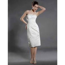 Classic Elegant Column Strapless Short Dress for Beach Wedding
