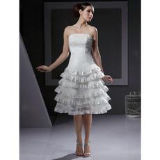 Chic A-Line Strapless Organza Tiered Short Beach Wedding Dress