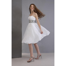 Simple Informal A-Line Spaghetti Straps Chiffon Short Beach Wedding Dress