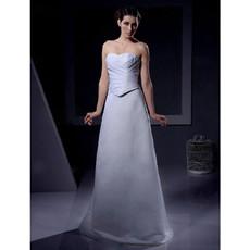 Classic Simple A-Line Sweetheart Floor Length Satin Wedding Dress